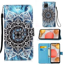 Underwater Mandala Matte Leather Wallet Phone Case for Samsung Galaxy A42 5G