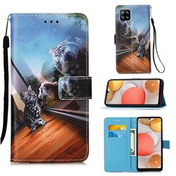 Mirror Cat Matte Leather Wallet Phone Case for Samsung Galaxy A42 5G