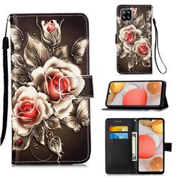 Black Rose Matte Leather Wallet Phone Case for Samsung Galaxy A42 5G