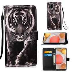 Black and White Tiger Matte Leather Wallet Phone Case for Samsung Galaxy A42 5G