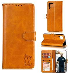 Embossing Happy Cat Leather Wallet Case for Samsung Galaxy A42 5G - Yellow