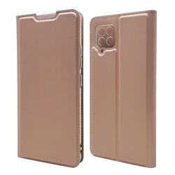 Ultra Slim Card Magnetic Automatic Suction Leather Wallet Case for Samsung Galaxy A42 5G - Rose Gold