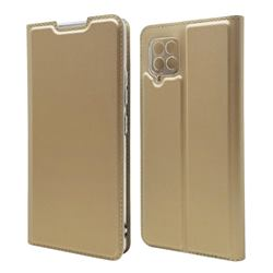 Ultra Slim Card Magnetic Automatic Suction Leather Wallet Case for Samsung Galaxy A42 5G - Champagne