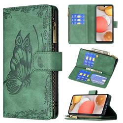 Binfen Color Imprint Vivid Butterfly Buckle Zipper Multi-function Leather Phone Wallet for Samsung Galaxy A42 5G - Green