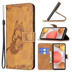 Binfen Color Imprint Vivid Butterfly Leather Wallet Case for Samsung Galaxy A42 5G - Brown