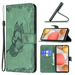 Binfen Color Imprint Vivid Butterfly Leather Wallet Case for Samsung Galaxy A42 5G - Green