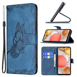 Binfen Color Imprint Vivid Butterfly Leather Wallet Case for Samsung Galaxy A42 5G - Blue