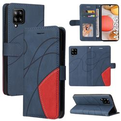 Luxury Two-color Stitching Leather Wallet Case Cover for Samsung Galaxy A42 5G - Blue