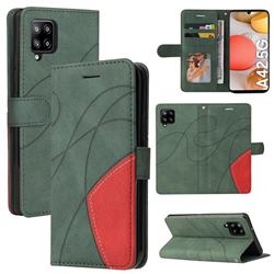 Luxury Two-color Stitching Leather Wallet Case Cover for Samsung Galaxy A42 5G - Green