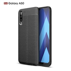 Luxury Auto Focus Litchi Texture Silicone TPU Back Cover for Samsung Galaxy A50 - Black