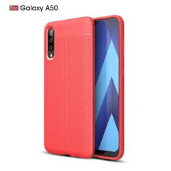 Luxury Auto Focus Litchi Texture Silicone TPU Back Cover for Samsung Galaxy A50 - Red