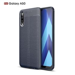 Luxury Auto Focus Litchi Texture Silicone TPU Back Cover for Samsung Galaxy A50 - Dark Blue