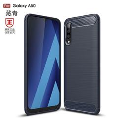 Luxury Carbon Fiber Brushed Wire Drawing Silicone TPU Back Cover for Samsung Galaxy A50 - Navy