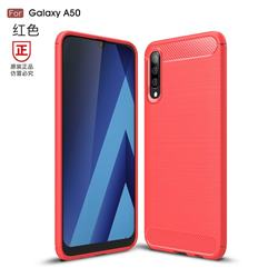 Luxury Carbon Fiber Brushed Wire Drawing Silicone TPU Back Cover for Samsung Galaxy A50 - Red