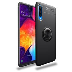 Auto Focus Invisible Ring Holder Soft Phone Case for Samsung Galaxy A50 - Black