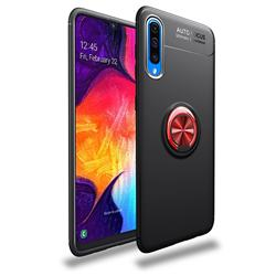 Auto Focus Invisible Ring Holder Soft Phone Case for Samsung Galaxy A50 - Black Red