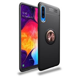 Auto Focus Invisible Ring Holder Soft Phone Case for Samsung Galaxy A50 - Black Gold