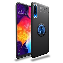 Auto Focus Invisible Ring Holder Soft Phone Case for Samsung Galaxy A50 - Black Blue