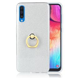 Luxury Soft TPU Glitter Back Ring Cover with 360 Rotate Finger Holder Buckle for Samsung Galaxy A50 - White