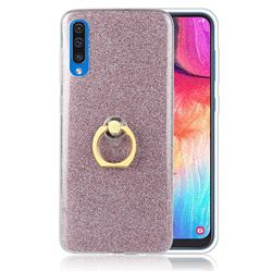 Luxury Soft TPU Glitter Back Ring Cover with 360 Rotate Finger Holder Buckle for Samsung Galaxy A50 - Pink