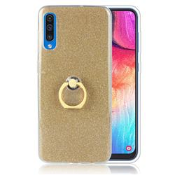 Luxury Soft TPU Glitter Back Ring Cover with 360 Rotate Finger Holder Buckle for Samsung Galaxy A50 - Golden