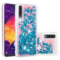 Dynamic Liquid Glitter Quicksand Sequins TPU Phone Case for Samsung Galaxy A50 - Blue