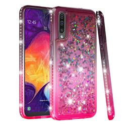 Diamond Frame Liquid Glitter Quicksand Sequins Phone Case for Samsung Galaxy A50 - Gray Pink