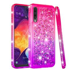 Diamond Frame Liquid Glitter Quicksand Sequins Phone Case for Samsung Galaxy A50 - Pink Purple