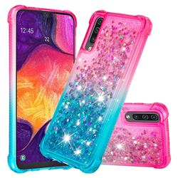 Rainbow Gradient Liquid Glitter Quicksand Sequins Phone Case for Samsung Galaxy A50 - Pink Blue