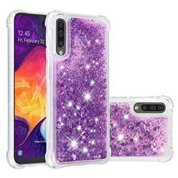 Dynamic Liquid Glitter Sand Quicksand Star TPU Case for Samsung Galaxy A50 - Purple