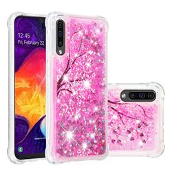 Pink Cherry Blossom Dynamic Liquid Glitter Sand Quicksand Star TPU Case for Samsung Galaxy A50