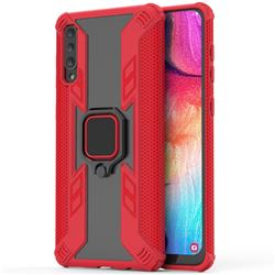 Predator Armor Metal Ring Grip Shockproof Dual Layer Rugged Hard Cover for Samsung Galaxy A50 - Red
