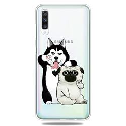 Selfie Dog Clear Varnish Soft Phone Back Cover for Samsung Galaxy A50