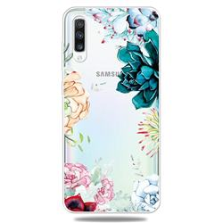 Gem Flower Clear Varnish Soft Phone Back Cover for Samsung Galaxy A50