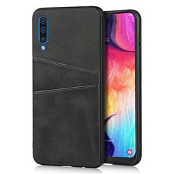 Simple Calf Card Slots Mobile Phone Back Cover for Samsung Galaxy A50 - Black