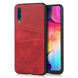 Simple Calf Card Slots Mobile Phone Back Cover for Samsung Galaxy A50 - Red
