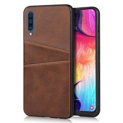 Simple Calf Card Slots Mobile Phone Back Cover for Samsung Galaxy A50 - Coffee