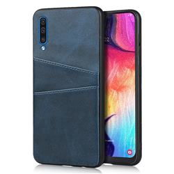 Simple Calf Card Slots Mobile Phone Back Cover for Samsung Galaxy A50 - Blue