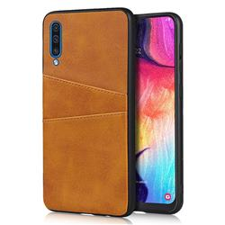 Simple Calf Card Slots Mobile Phone Back Cover for Samsung Galaxy A50 - Yellow