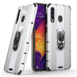 Alita Battle Angel Armor Metal Ring Grip Shockproof Dual Layer Rugged Hard Cover for Samsung Galaxy A50 - Silver