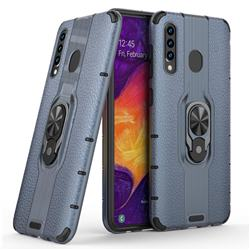 Alita Battle Angel Armor Metal Ring Grip Shockproof Dual Layer Rugged Hard Cover for Samsung Galaxy A50 - Blue
