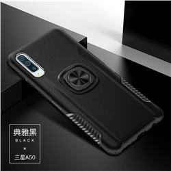 Knight Armor Anti Drop PC + Silicone Invisible Ring Holder Phone Cover for Samsung Galaxy A50 - Black