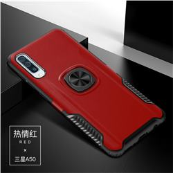 Knight Armor Anti Drop PC + Silicone Invisible Ring Holder Phone Cover for Samsung Galaxy A50 - Red