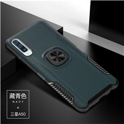 Knight Armor Anti Drop PC + Silicone Invisible Ring Holder Phone Cover for Samsung Galaxy A50 - Navy