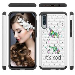 Tiny Unicorn Studded Rhinestone Bling Diamond Shock Absorbing Hybrid Defender Rugged Phone Case Cover for Samsung Galaxy A50