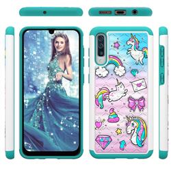 Fashion Unicorn Studded Rhinestone Bling Diamond Shock Absorbing Hybrid Defender Rugged Phone Case Cover for Samsung Galaxy A50