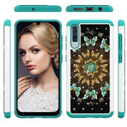 Golden Butterflies Studded Rhinestone Bling Diamond Shock Absorbing Hybrid Defender Rugged Phone Case Cover for Samsung Galaxy A50