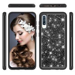 Glitter Rhinestone Bling Shock Absorbing Hybrid Defender Rugged Phone Case Cover for Samsung Galaxy A50 - Black