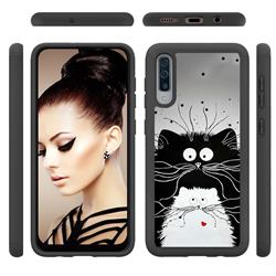 Black and White Cat Shock Absorbing Hybrid Defender Rugged Phone Case Cover for Samsung Galaxy A50