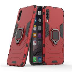 Black Panther Armor Metal Ring Grip Shockproof Dual Layer Rugged Hard Cover for Samsung Galaxy A50 - Red